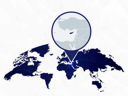 Cyprus detailed map highlighted on blue rounded World Map. Map of Cyprus in circle.