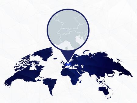 Liechtenstein detailed map highlighted on blue rounded World Map. Map of Liechtenstein in circle.