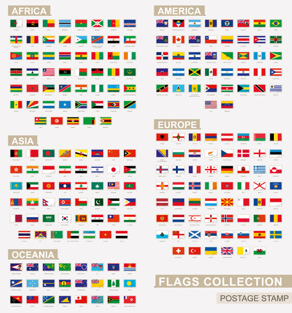 Postage stamp with flags of the world. Set of 228 world flag. Vector Illustration. Vector Illustration