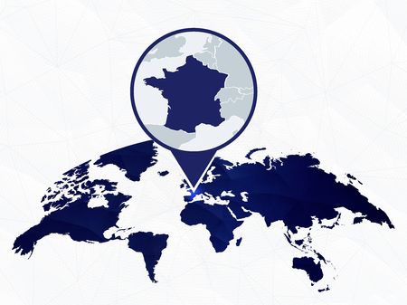 France detailed map highlighted on blue rounded World Map. Map of France in circle.