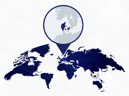Denmark detailed map highlighted on blue rounded World Map. Map of Denmark in circle. Иллюстрация