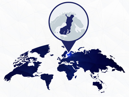 Finland detailed map highlighted on blue rounded World Map. Map of Finland in circle.