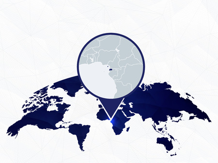 Equatorial Guinea detailed map highlighted on blue rounded World Map. Map of Equatorial Guinea in circle.