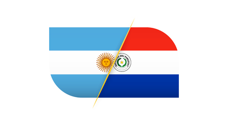 Football competition Argentina vs Paraguay. Vector illustration.