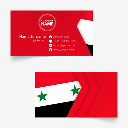 Syria Flag Business Card, standard size (90x50 mm) business card template with bleed under the clipping mask.