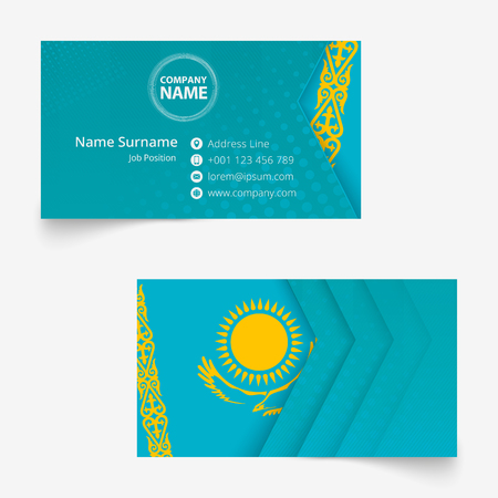 Kazakhstan Flag Business Card, standard size (90x50 mm) business card template with bleed under the clipping mask.