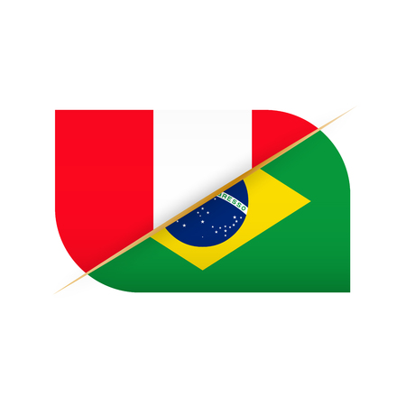 Peru versus Brazil, two vector flags icon for sport competition.
