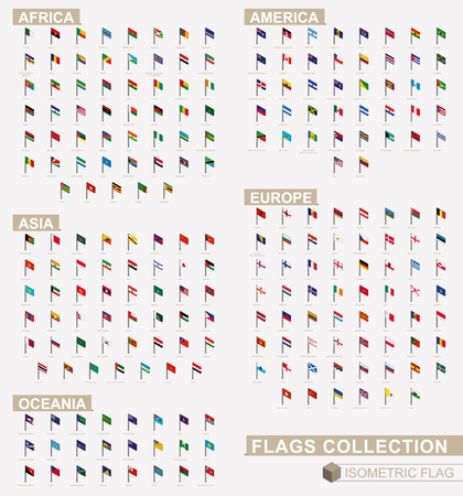 Isometric flag collection of Europe, America, Asia, Oceania, Africa.
