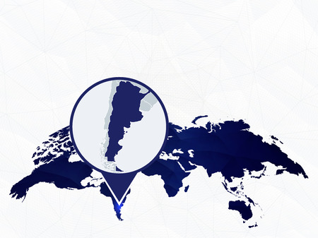 Argentina detailed map highlighted on blue rounded World Map. Map of Argentina in circle. Иллюстрация