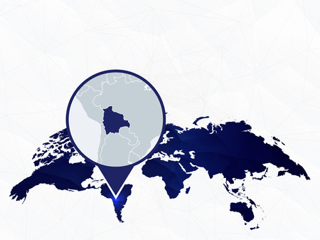 Bolivia detailed map highlighted on blue rounded World Map. Map of Bolivia in circle. Иллюстрация