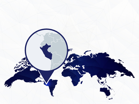 Peru detailed map highlighted on blue rounded World Map. Map of Peru in circle.