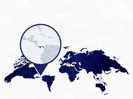 Panama detailed map highlighted on blue rounded World Map. Map of Panama in circle.