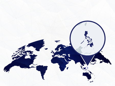Philippines detailed map highlighted on blue rounded World Map. Map of Philippines in circle.
