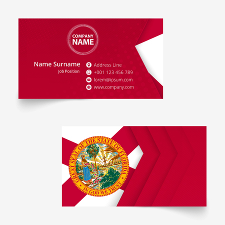 Florida Flag Business Card, standard size (90x50 mm) business card template with bleed under the clipping mask.