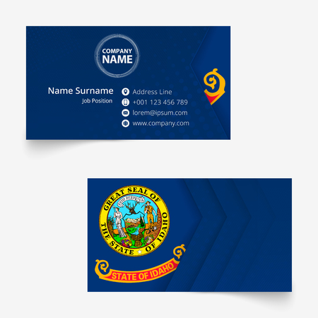 Idaho Flag Business Card, standard size (90x50 mm) business card template with bleed under the clipping mask.