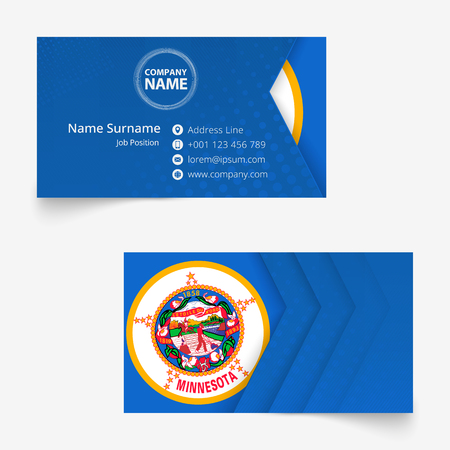 Minnesota Flag Business Card, standard size (90x50 mm) business card template with bleed under the clipping mask.