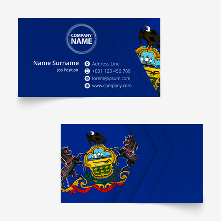 Pennsylvania Flag Business Card, standard size (90x50 mm) business card template with bleed under the clipping mask. Illustration