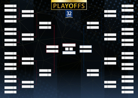 Two conference tournament bracket for 32 team or player on dark background. Playoffs vector schedule.