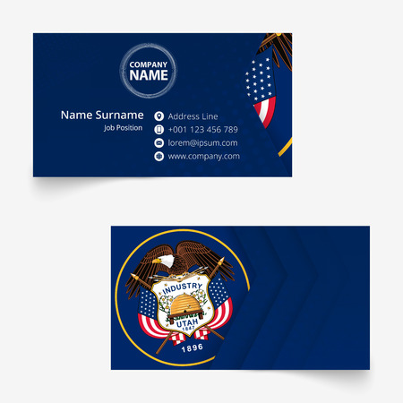 Utah Flag Business Card, standard size (90x50 mm) business card template with bleed under the clipping mask. 版權商用圖片 - 124298329