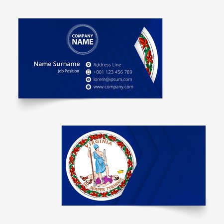 Virginia Flag Business Card, standard size (90x50 mm) business card template with bleed under the clipping mask.