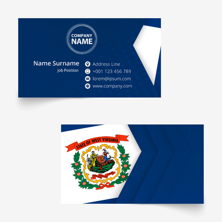 West Virginia Flag Business Card, standard size (90x50 mm) business card template with bleed under the clipping mask.