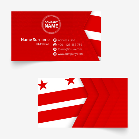 District of Columbia Flag Business Card, standard size (90x50 mm) business card template with bleed under the clipping mask. Illustration