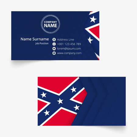Confederate Flag Business Card, standard size (90x50 mm) business card template with bleed under the clipping mask. Vector Illustration