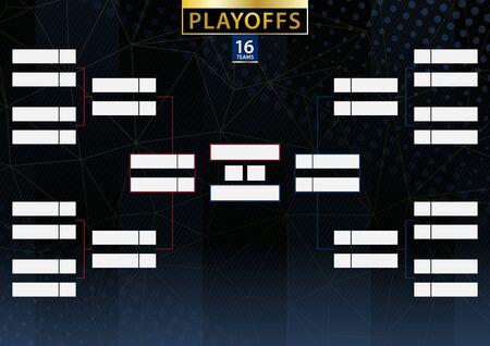 Soporte de torneo de dos conferencias para 16 equipos o jugadores sobre fondo oscuro. Calendario vectorial de los playoffs.