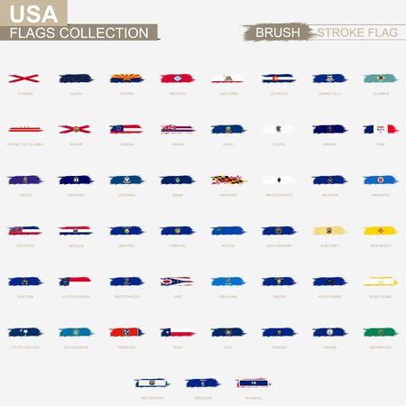Grunge abstract brush stroke collection, flags of United States of America. Vector flags.