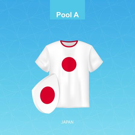 Rugby jersey of Japan team with flag of Japan. Vector illustration. Vettoriali