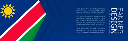 Banner template with flag of Namibia for advertising travel, business and other. Horizontal web banner design. Çizim