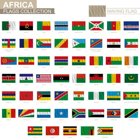 National flag of African countries with waving effect, official proportion. Big collection of vector flag.