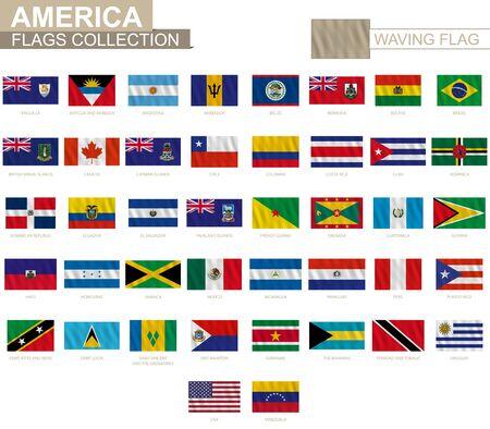 Bandera nacional de los países americanos con efecto ondulante, proporción oficial. Gran colección de bandera de vectores.