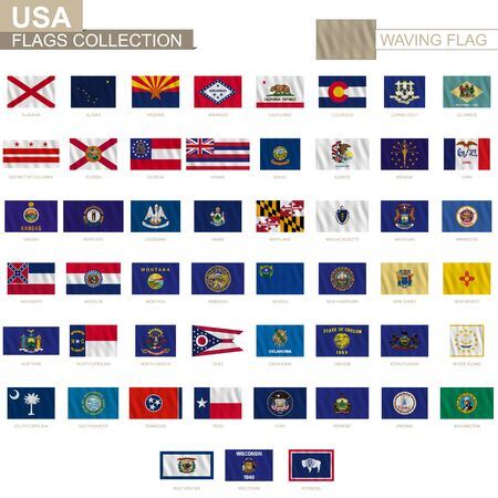 State flags of United States of America with waving effect, official proportion. Big collection of vector flag.