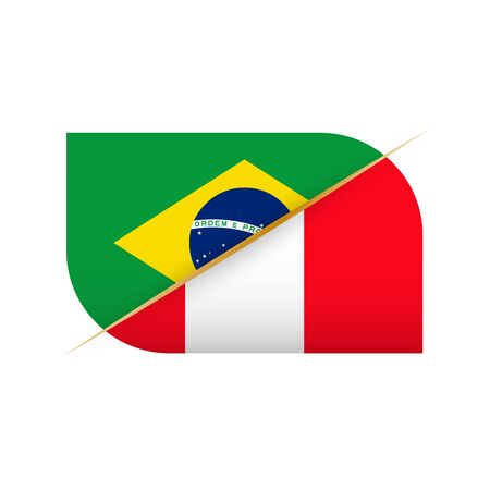 Brazil versus Peru, two vector flags icon for sport competition.