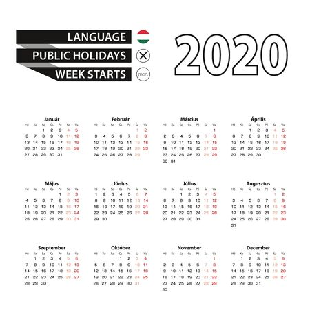 Calendar 2020 in Hungarian language, week starts on Monday. Vector calendar 2020 year. Ilustração