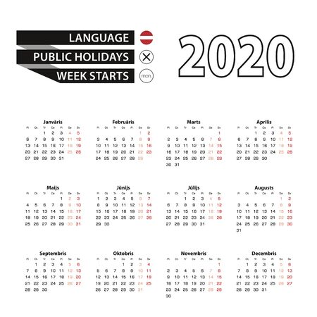 Calendar 2020 in Latvian language, week starts on Monday. Vector calendar 2020 year. Ilustração