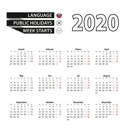 Calendar 2020 in Slovak language, week starts on Monday. Vector calendar 2020 year.