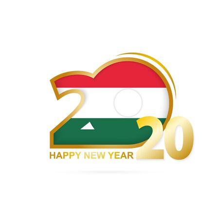 Year 2020 with Hungary Flag pattern. Happy New Year Design. Vector Illustration.
