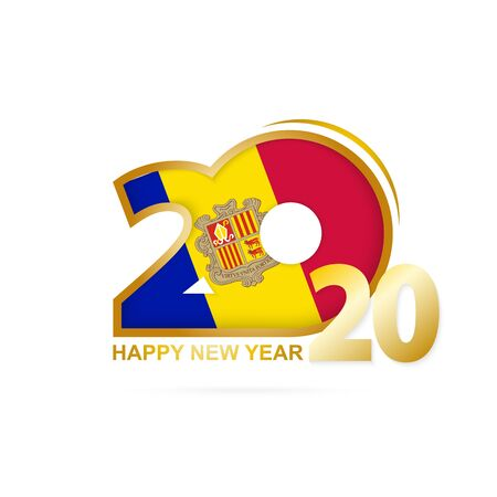 Year 2020 with Andorra Flag pattern. Happy New Year Design. Vector Illustration.