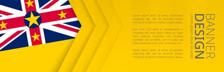 Banner template with flag of Niue for advertising travel, business and other. Horizontal web banner design. Ilustração