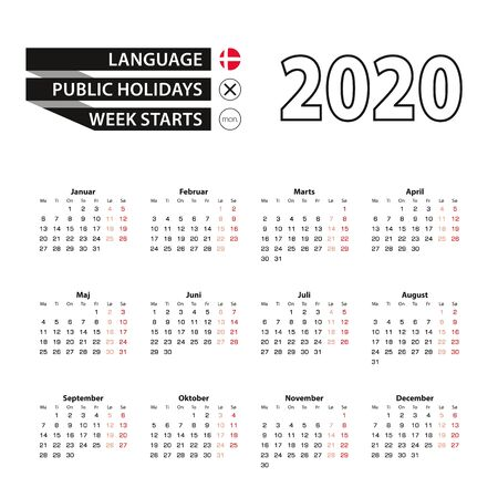 Calendar 2020 in Danish language, week starts on Monday. Vector calendar 2020 year. Ilustração
