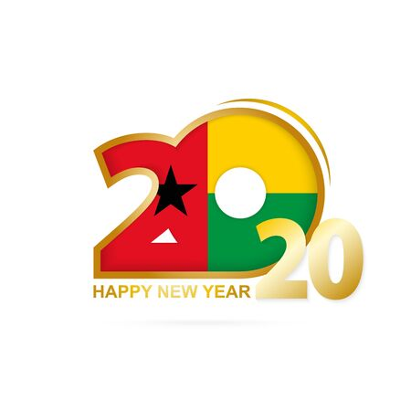Year 2020 with Guinea-Bissau Flag pattern. Happy New Year Design. Vector Illustration. Ilustração