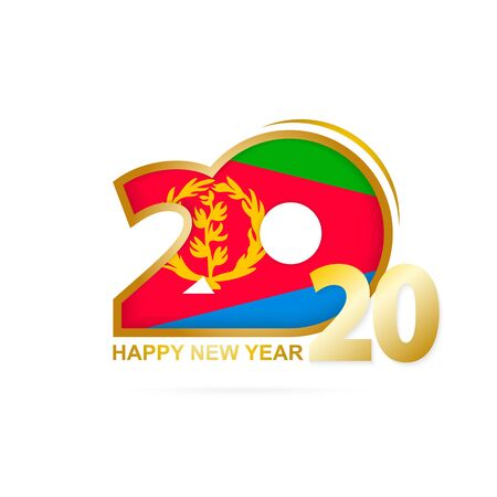 Year 2020 with Eritrea Flag pattern. Happy New Year Design. Vector Illustration. Imagens - 128630000