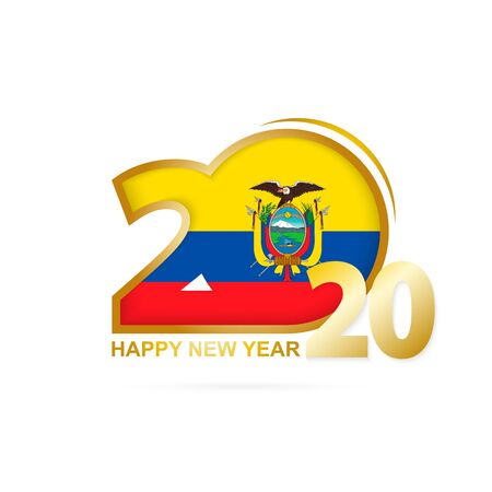 Year 2020 with Ecuador Flag pattern. Happy New Year Design. Vector Illustration. Ilustração