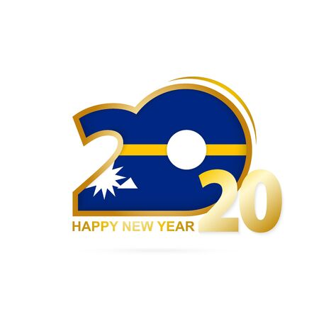 Year 2020 with Nauru Flag pattern. Happy New Year Design. Vector Illustration. Ilustração