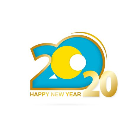 Year 2020 with Palau Flag pattern. Happy New Year Design. Vector Illustration. Ilustração