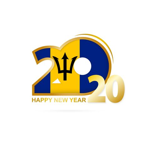 Year 2020 with Barbados Flag pattern. Happy New Year Design. Vector Illustration.