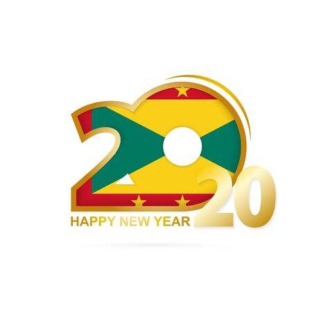 Year 2020 with Grenada Flag pattern. Happy New Year Design. Vector Illustration. Ilustração