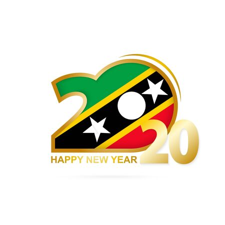 Year 2020 with Saint Kitts and Nevis Flag pattern. Happy New Year Design. Vector Illustration. Ilustração